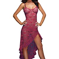Ausexy Women Lady Babydoll V-Neck Lingerie Underwear Sleepwear Nightwear Suspenders Long Dress G-String Sexy See Through Temptation