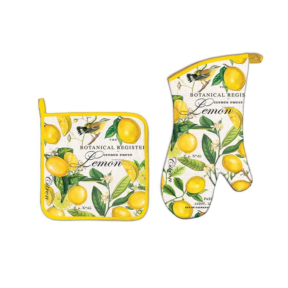 Michel Design Works Lemon Oven Mitt and Lemon Pot Holder