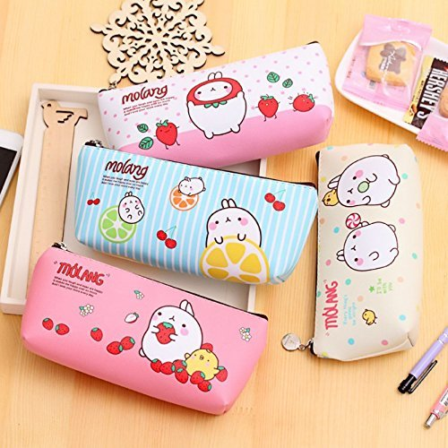 VANVENE Cute Molang Rabbit Pencil case for girls Kawaii PU Leather stationery pouch bags Korean stationery office school supplies