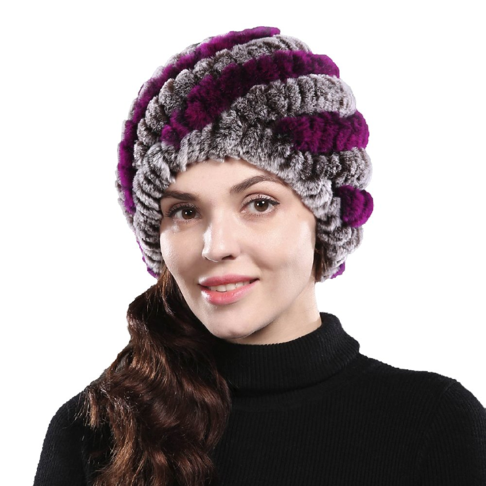 5ed9622baba10 Bafei Real Genuine Rex Rabbit Fur Knitted Winter Hat Caps for Women  (coffee) at Amazon Women s Clothing store