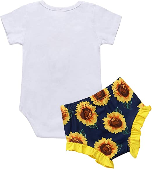 Kantenia Newborn Baby Girl Clothes Ruffle Sleeve Romper Tops Floral Pants Headband Outfit Set 3-24 Months