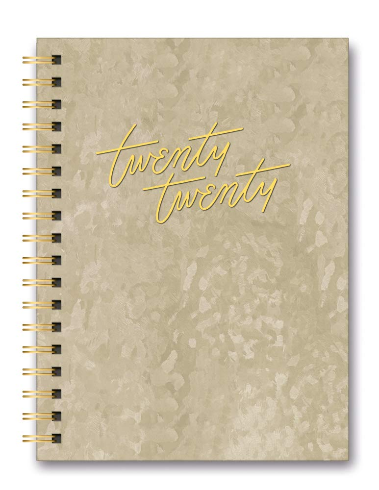 Orange Circle Studio 2020 Leatheresque Large Tabbed Spiral Agenda, Gold