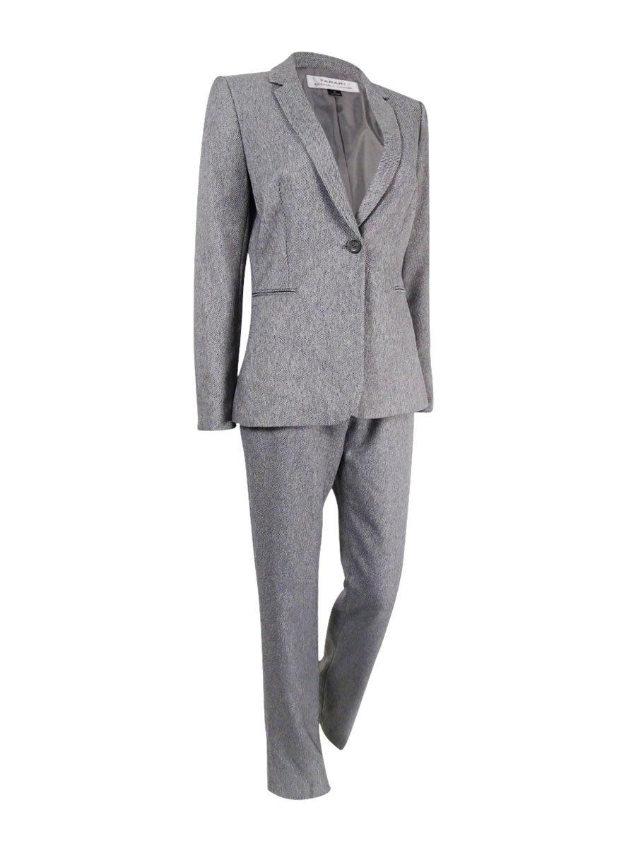 Tahari Women's One-Button Twill Pantsuit (2, Heather Grey)