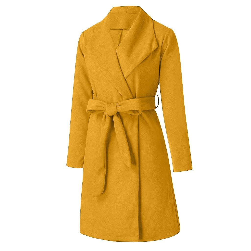 Women Duffle Coat Long Sleeve Casual Jacket Autumn Winter Long Blouse Oversized Warm Overcoat Outerwear(Yellow,L) by WatFY