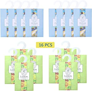 lifetop 16Packs Closet Air Lemon & Ocean Freshener Deodorizer Scented Sachets Bags for Drawer Closets, Wardrobes and Bedrooms, Car Scent (Lemon + Ocean)