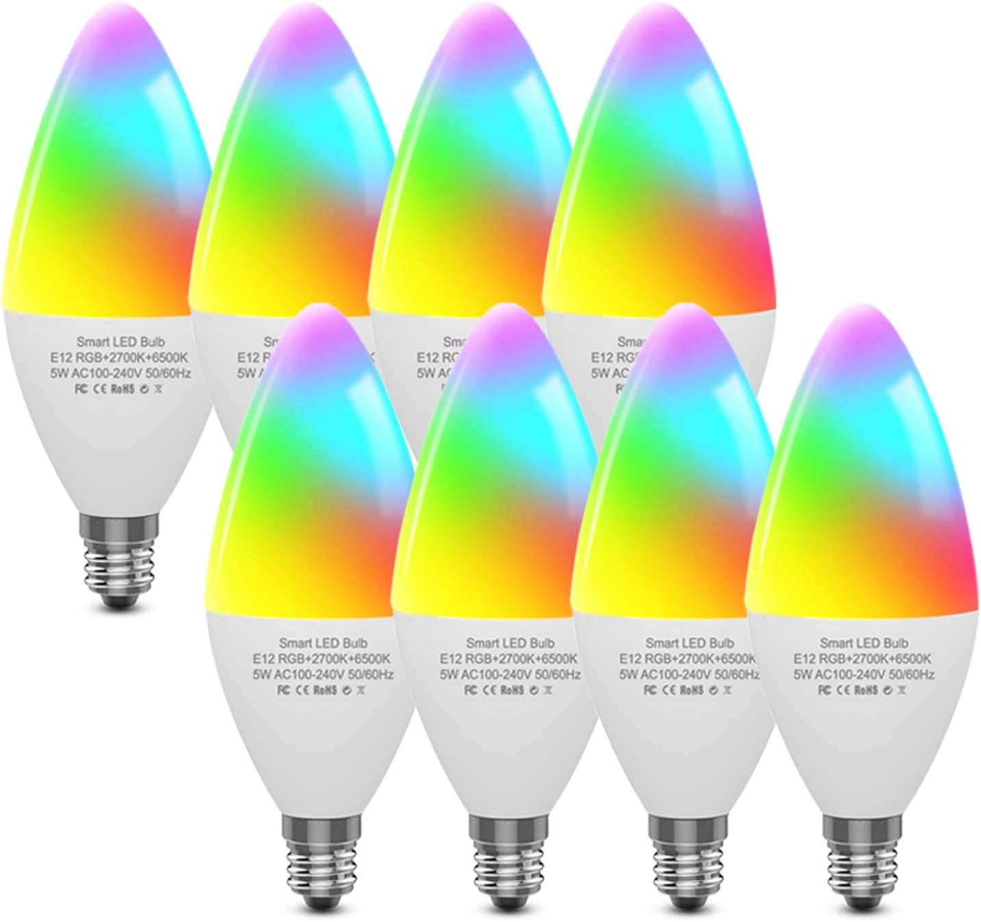 CMARS Smart Light Bulbs E12 Base, Candelabra LED Bulbs Work with Alexa Google Home IFTTT, Dimmable and RGB Color Changing Light Bulb, Tunable White Chandelier Light Bulbs 320 lm 35w Equivalent 8 Pack