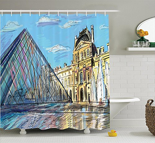 [Apartment Decor Collection Louvre Palace Museum in Paris Famous Modern French Place Pop Art Style Day Time Image Polyester Fabric Bathroom Shower Curtain Set with Hooks Blue] (Museum Of Country Life And Costume)
