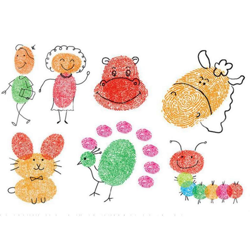 Baoblaze 6 Couleurs Grand Tampon Encreur Mousse Pigment pour Enfants Peinture Au Doigt Bricolage Artisanat Scrapbooking DIY Dessin Cr/éatif Educatif
