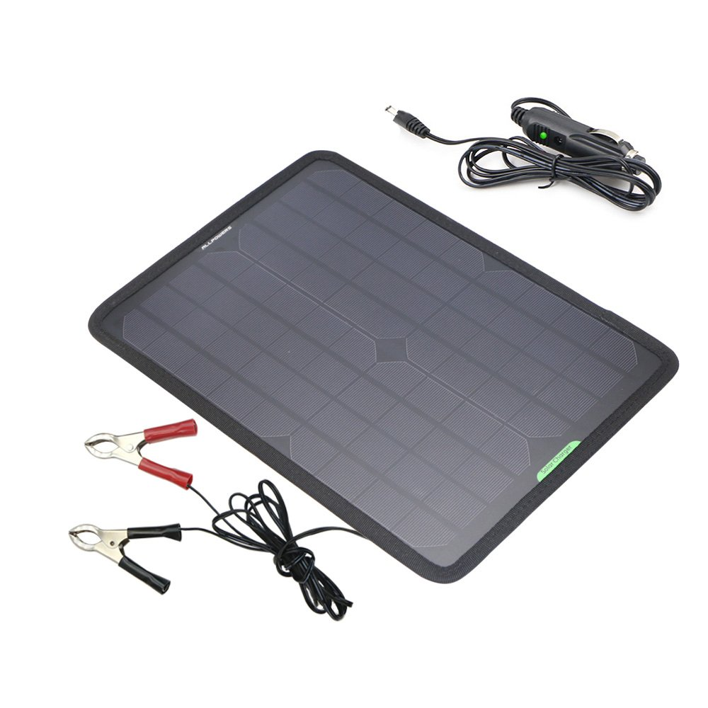 ALLPOWERS 18V 5 Watts Portable Solar Panel Solar Car Battery Charger Backup For Car Boat Batteries, Solar