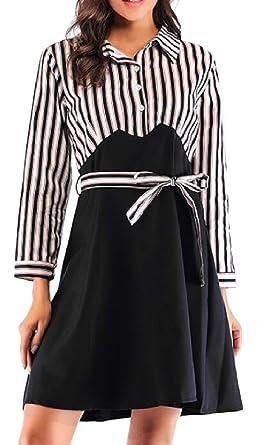 a426e3331b5 Hajotrawa Women Belt Striped Basic Lapel Neck Contrast Color Buttons Midi  Dresses Black XS