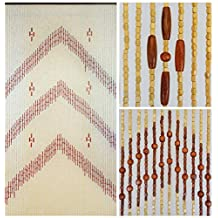"""BeadedString Natural Wood Beaded Curtain-HIGHEST NUMBER OF STRANDS-60 Strands-73"""" High-Bamboo and Wooden Beaded Door Beads-Doorway Retro Boho Bohemian Hippie Curtain-35.5"""" W x 73"""" H-60 Strands-Levinia"""