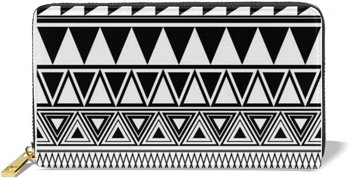 Yunshm Black And White Geometric Seamless Borders Customized Leather Zipper Printed Clutch Bag Wallet Card Large Capacity Long Purse For Women