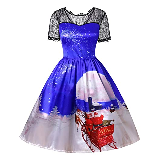 Christmas Women s Short Sleeve 3D Print Lace Gown Party Swing Dress Plus  Size Patchwork Printing Retro c403fcd7fa88