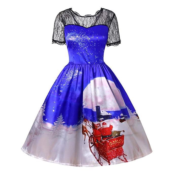 Lenfesh_Vestidos de Mujer Navidad Mini Vestido Vestidos de Floral Encaje Christmas Ropa Mujer Vestido De Manga Corta con Cuello En V: Amazon.es: Ropa y ...