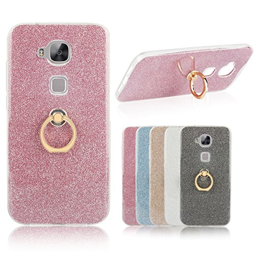Huawei G8 Case, SHANGRUN 2 in 1 Glitter Bling Prints Flexible Soft TPU Protective Case Cover with Ring Holder Kickstand for Huawei G7 Plus / G8 / GX8 (5.5
