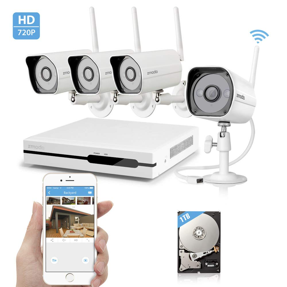 Zmodo Wireless Security Camera System - NVR w/ 1TB Hard Drive, 4 x 720P HD Wireless Cameras Night Vision - WiFi Easy Installation No Video Cables Needed (Renewed) by Zmodo