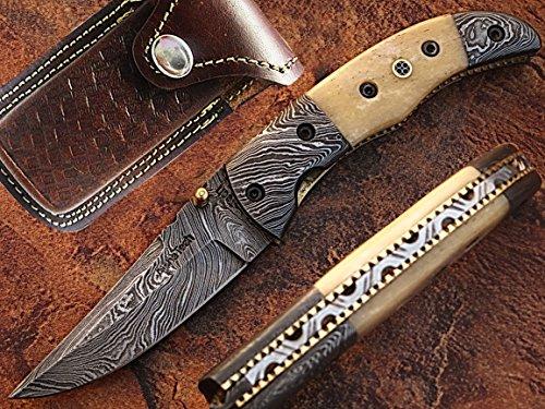 Professional Damascus Folding Knife with White Bone Handle