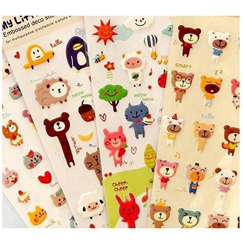 Schoolsupplies 4pcs Cute Cartoon Lovely Animal Bear Sheep Cat Puffy Decorative Stickers