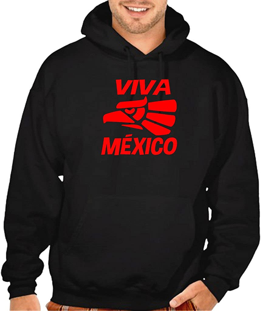 Viva Mexico Eagle Seal Tee V379 Mens Black Pullover Hoodie Sweater Black