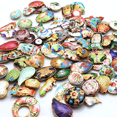 - Calvas 1Pcs Mixed Color Cloisonne Enamel Spacer Loose Beads Pendant Jewelry Making