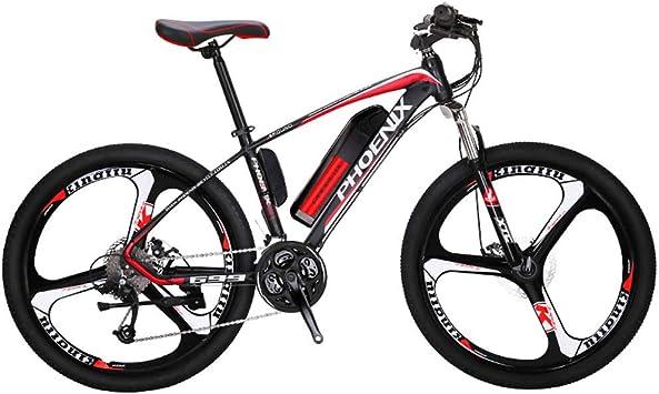 Adulto Bicicleta de montaña eléctrica, Bicicletas 250W Nieve, extraíble 36V 10AH batería de Litio de 27 de Velocidad de Bicicleta eléctrica, 26 Pulgadas de aleación de magnesio Integrado Ruedas,Rojo: Amazon.es: Deportes y