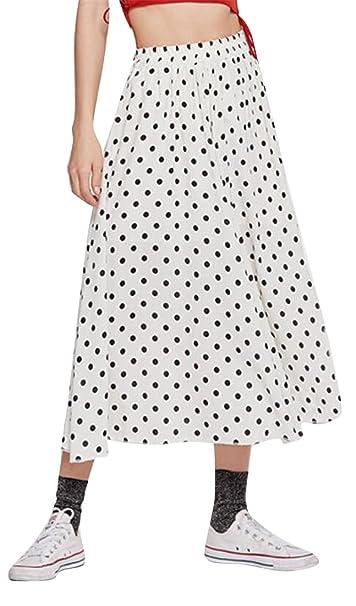 9e1b4d3f62a Jofemuho Womens Polka Dot Print Plus Size Boho Print Summer Chiffon Pleated  Maxi Skirt at Amazon Women s Clothing store