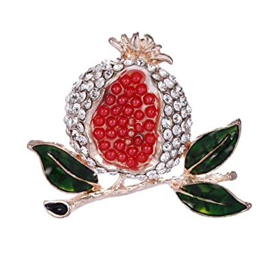 16bf1495d359a Buy IJARP Red Enamel Rhinestone Pomegranate Alloy Brooch Pin Broach ...