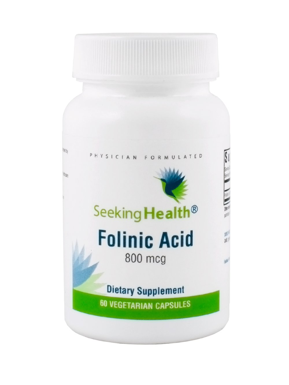 Folinic Acid | 60 Vegetarian Capsules | Provides 800 mcg DFE Bioavailable Folinic Acid | Physician Formulated | Seeking Health
