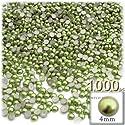 工芸のアウトレット1000-pieceパール仕上げHalf Domeラウンドビーズ 4mm グラスグリーン