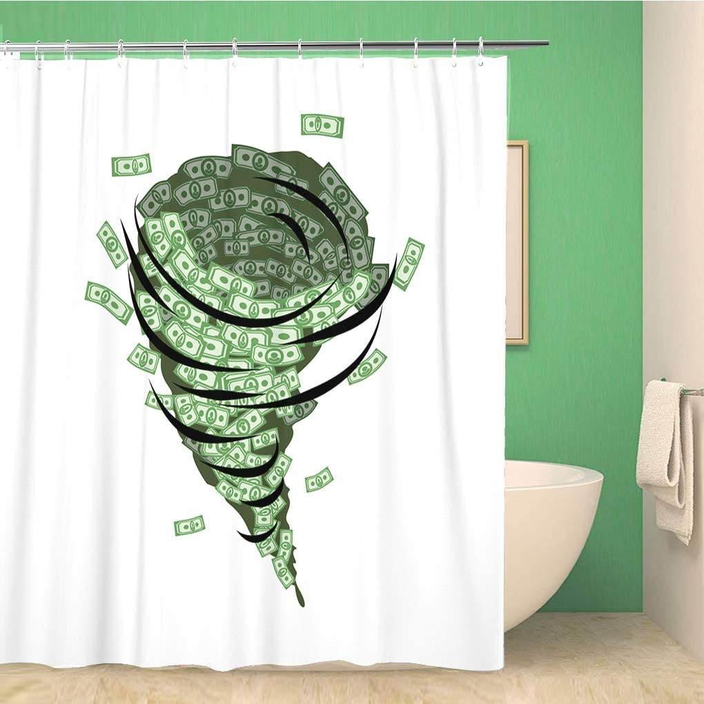 Awowee Bathroom Shower Curtain Money Tornado Whirlwind of Dollars Hurricane Cash Destructive Funnel 66x72 inches Waterproof Bath Curtain Set with Hooks