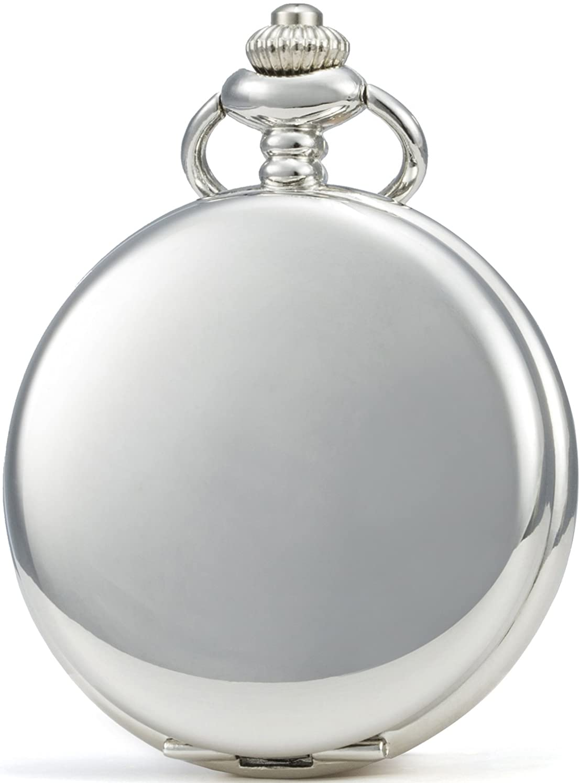SEWOR Reloj de Bolsillo clásico, Acabado Liso, Movimiento mecanizado a Mano, Viene en Caja de Regalo de Piel
