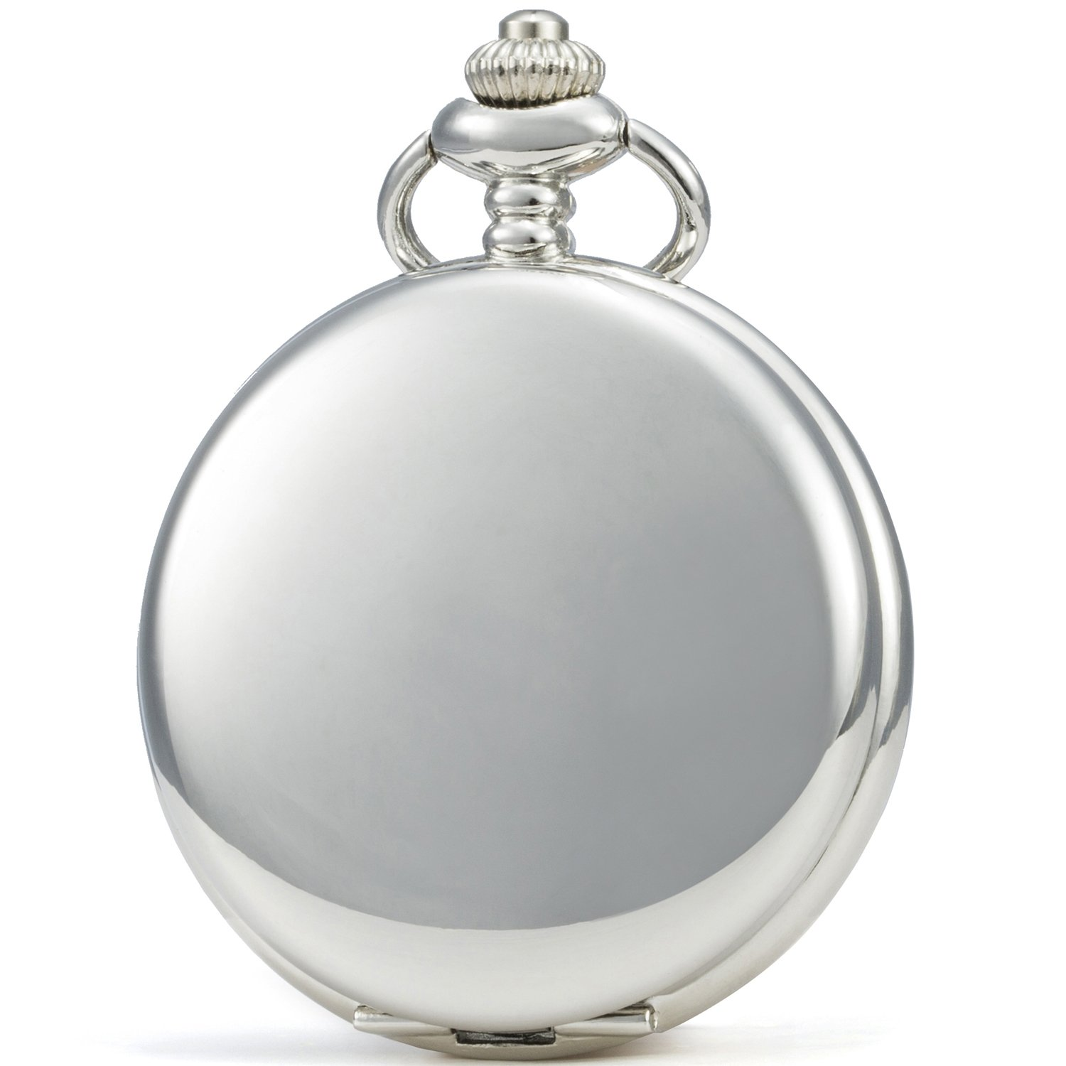 SEWOR Vintage Smooth Face Pocket Watch Classic Gift With Brand Leather Box (Sliver)