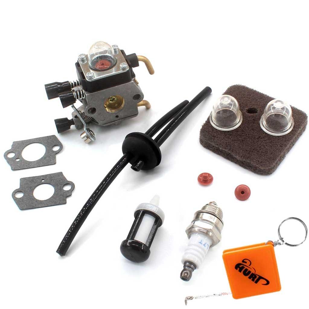 Huri, carburatore con filtro dell'aria, filtro tubo della benzina e candela di accensione, adatto per Stihl FS38 FS45 FS46 C FS55 FS55C FS55R FS55T KM55R C1Q-S153 C1Q-S71 C1Q-S143 C1Q-S153 C1Q-S186 C1Q-S186A CIQ S186B, per tosaerba