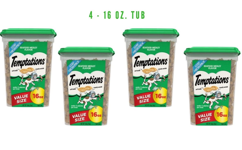 TEMPTATIONS Classic Holiday Treats for Cats 16 ounces (Seafood, 4 - 16 OZ. TUB)