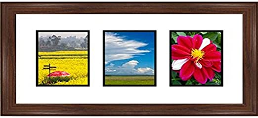 Walnut Frames by Mail Triple Square Opening Collage Frame for 8 x 6 Photo