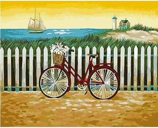 Pintura Por Números Diy Bicicleta Mar Paisaje Fotografía De Dibujo ...