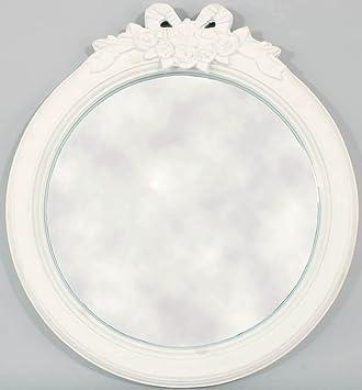 Amazon.de: Spiegel, rund, Vintage-Stil, Deko Rosen und Schleife, Weiß