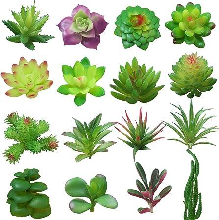 Yuccer Succulentes Artificielles 16 Pieces Artificielles Plantes