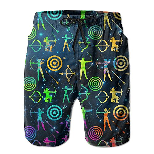 Men's Colorful Bow And Arrow Archery Clipart Quick-Dry Lightweight Fashion Board Shorts Swim Trunks (Arrow Clipart)