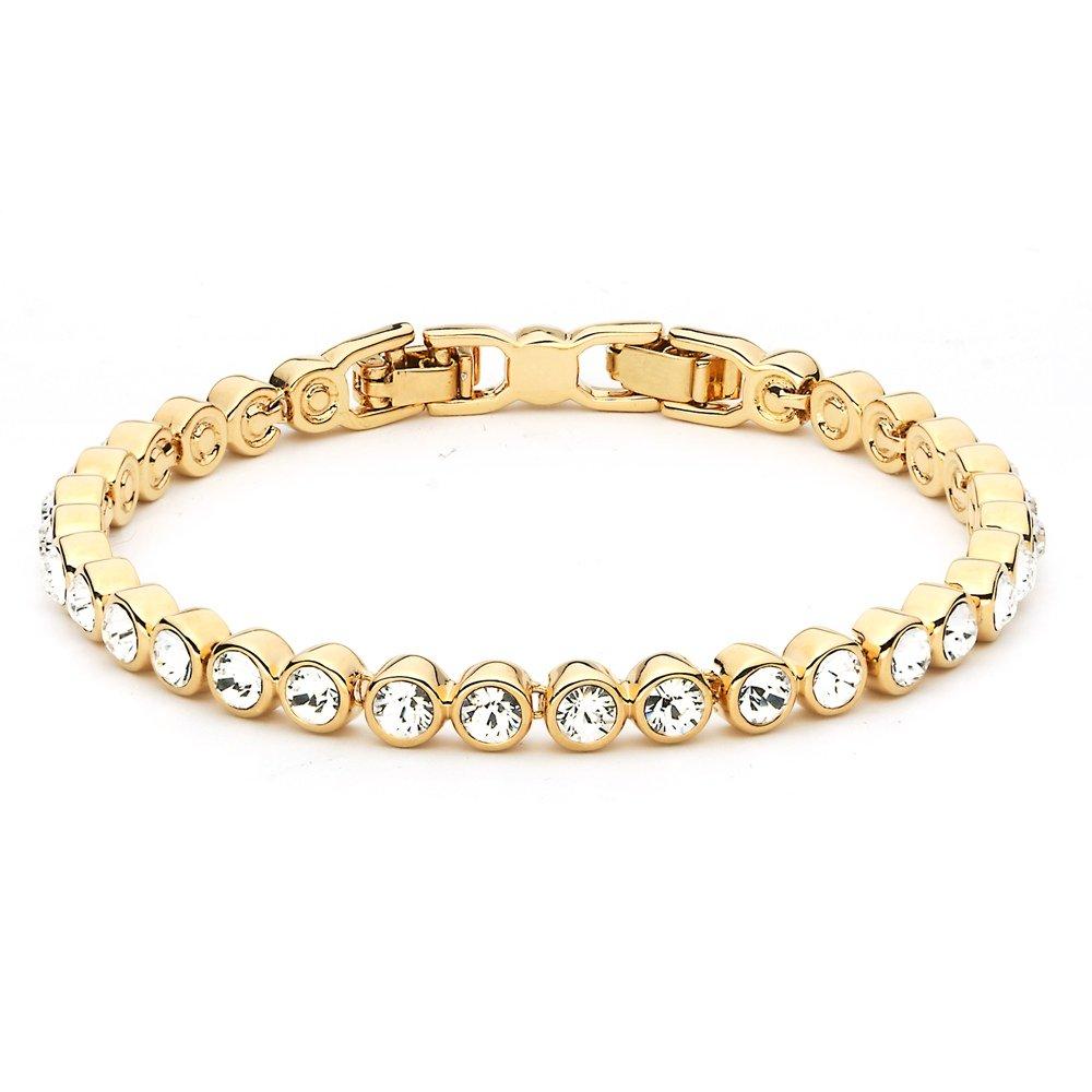 My Jewellery Story MYJS Tennis 16k Gold Plated Classic Bracelet with Clear Swarovski Crystals, 17+2cm Extender