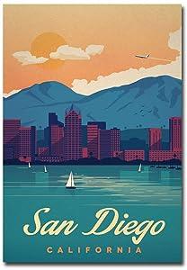 "San Diego Vintage Travel Art Refrigerator Magnet Size 2.5"" x 3.5"""