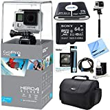 Beach Camera GoPro HERO 4 Silver Action Camera Bundle with 64GB Micro SDXC Memory Card and Accessories