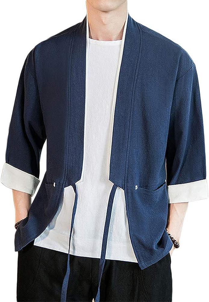 GladiolusA Hombres Camisa Kimono Camisa De Lino Estilo Chino Cárdigan Hippie Ropa: Amazon.es: Ropa y accesorios