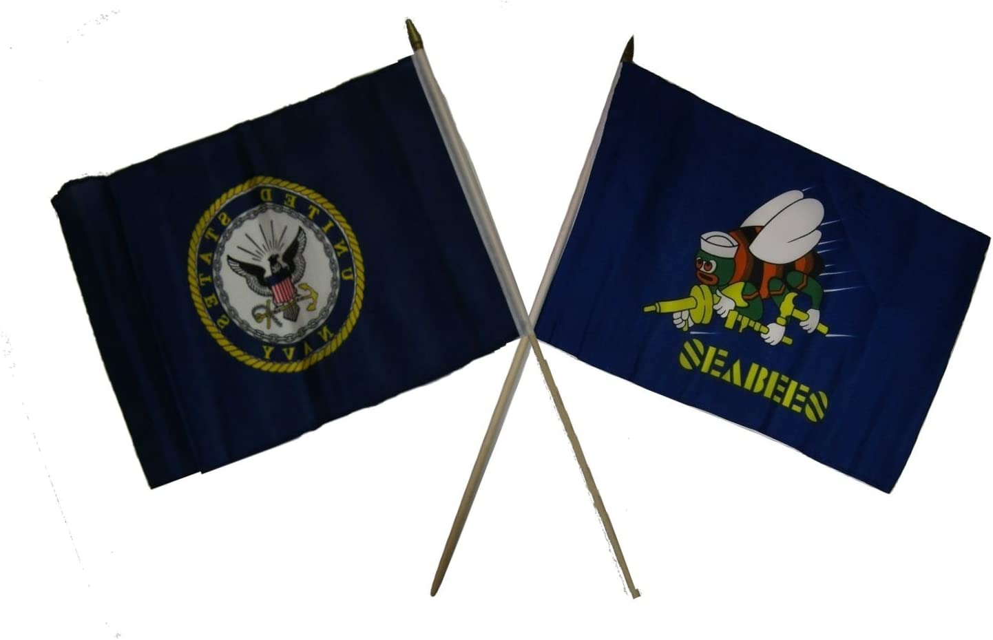 "Wholesale Lot of 9 U.S Navy Emblem Ship Gold Staff 4/""x6/"" Desk Table Stick Flag"