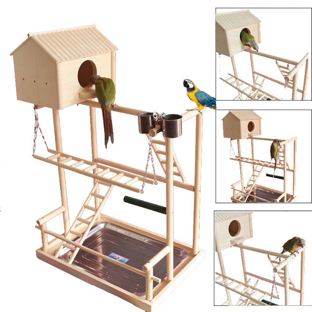 QBLEEV Bird's Nest Stand Parrot Playground Playgym Playpen Playstand Claw Bar Swing Bridge Tray Wood Climb Ladder Wooden Perches Parakeets African Grey Conures Cockatiel Cockatoos Parrotlets
