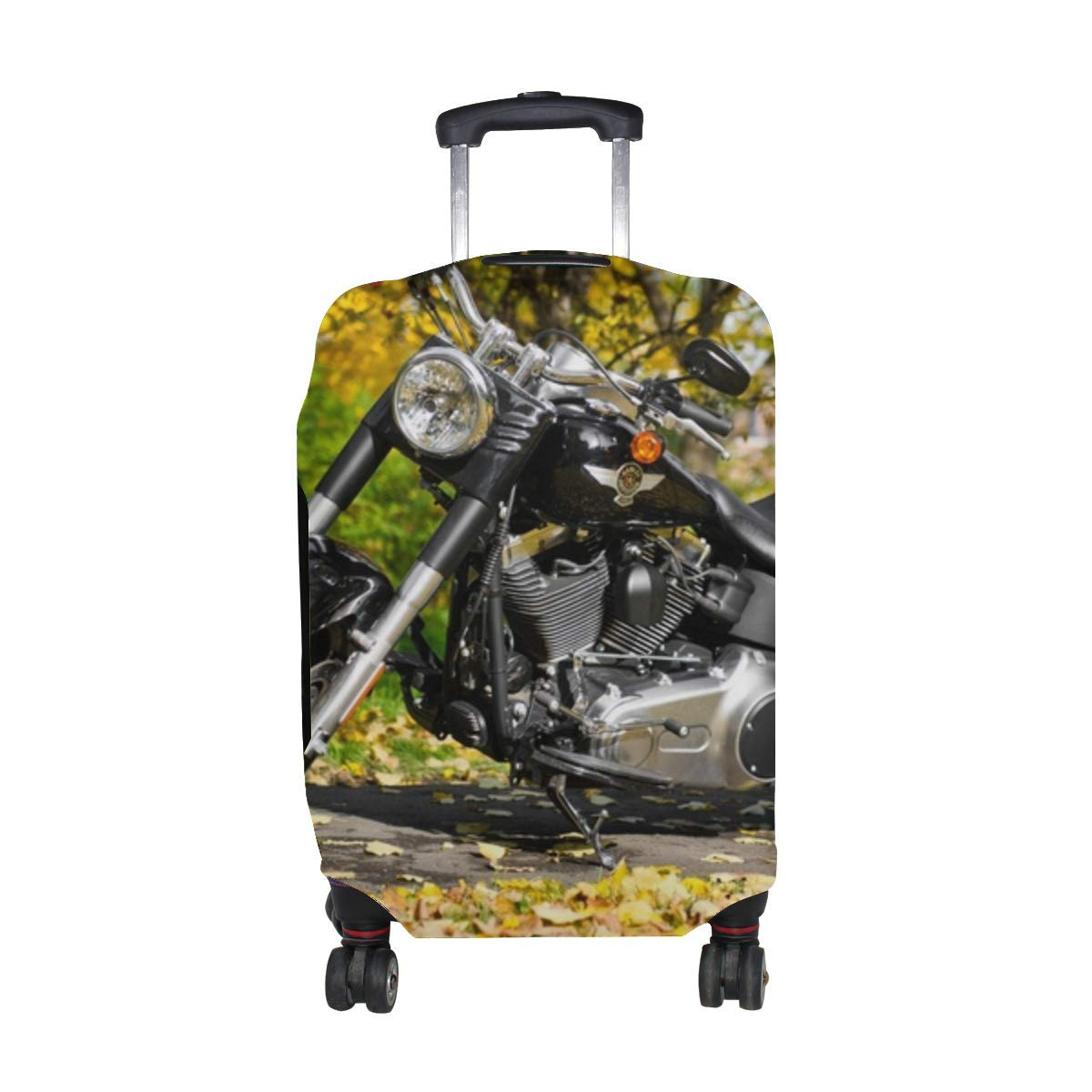Harley Davidson Motorcycle Foliage Autumn Pattern Print Travel Luggage Protector Baggage Suitcase Cover Fits 18-21 Inch Luggage