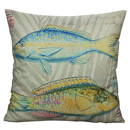 All Smiles Ocean Fish Throw Pillow Cover Case Decorative Outdoor Home Décor Cushion 18x18 Square Polyester Cotton Linen For Sofa Couch, Blue Yellow