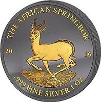 2016 GA Golden Enigma PowerCoin African Springbok Black Ruthenium 1 Oz Silver Coin 1000 Francs Gabon 2016 BU Brilliant Uncirculated