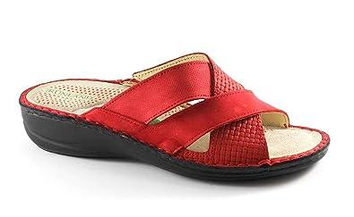 rote lederschuhe mit fussbett für damen