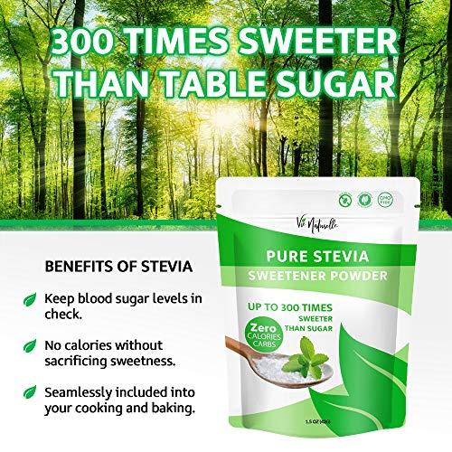 Vie Naturelle Pure Stevia Powder Extract Sweetener - 750 Servings - Zero Calorie Sugar Substitute - No Artificial Ingredients 4